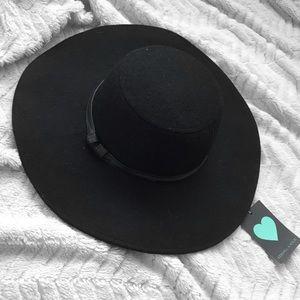 NWT Kendall & Kylie Black Wide Brimmed Hat